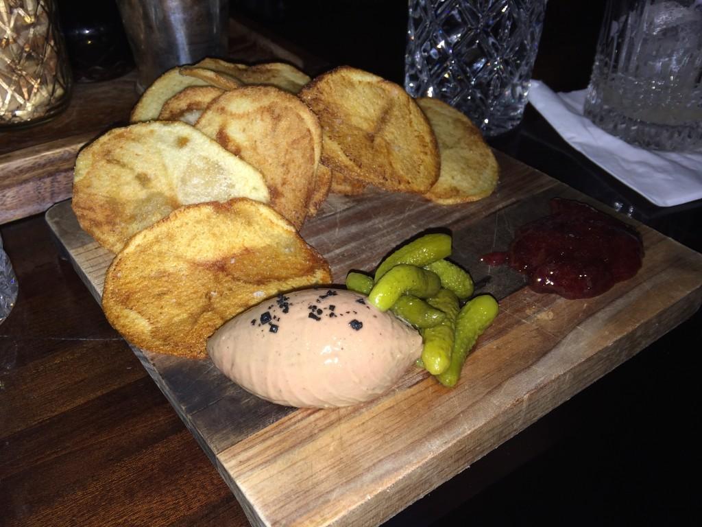 Pâté with cherry preserve - bar food at Eau de Vie.